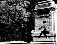 A Leap by the Soldier and Sailors Memorial
